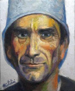 73 - Sergio Michilini, PASOLINI NEI RACCONTI DI CANTERBURY, 2017, olio su tela, cm.30×25 U$D 6,000