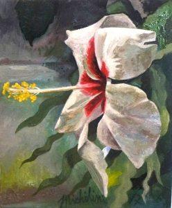 75 - Sergio Michilini, HIBISCO BLANCO DE LADO, 2017, óleo sobre tela, cm 30×25 U$D 3,000