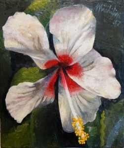 76 - Sergio Michilini, HIBISCO BLANCO, 2017, óleo sobre tela, cm 30×25 U$D 3,000