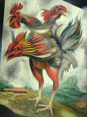 8 - TRIGALLO MÁS GALLO, 2015-16, óleo-tela, cm.80×60 $ 10,000 USD