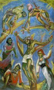80 - Sergio Michilini, CROCIFISSIONE,2010, olio su tela,cm.135×80, U$D 15,000