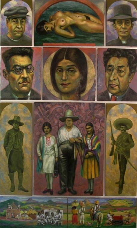 82 - Sergio Michilini TINA MODOTTI NOSTALGIA, 2007, retablo de 11 cuadros, óleo sobre tela, cm.192,5×115  U$D 33,000