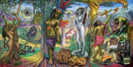 83 - Sergio Michilini, QUE HACER, 2012, triptico, oleo sobre tela, cm.122×240, U$D 33,000
