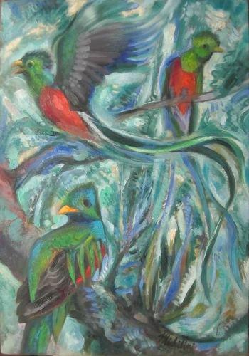 9 - QUETZALES, 2013, óleo-tela, cm.60×42 $ 4,000 USD