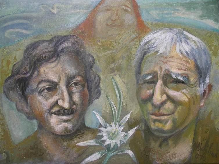 Michilini, I MARTIRI,ANGELO VASSALLO E CHICO MENDES, 2010, olio su tela, cm.60x80