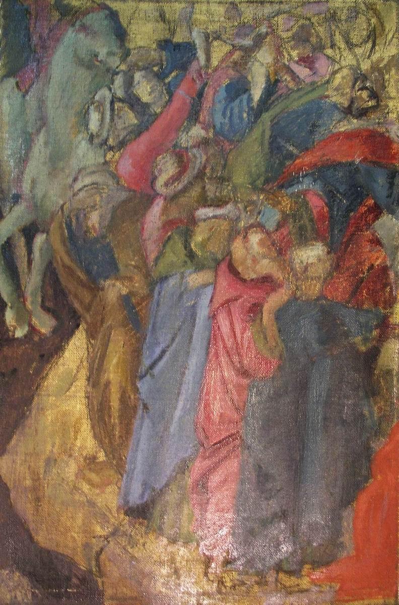 1970-COPIA DA BOTTICELLI,particolare della Adorazione dei Magi, Galleria degli Uffizi, olio su tela,  cm60x40