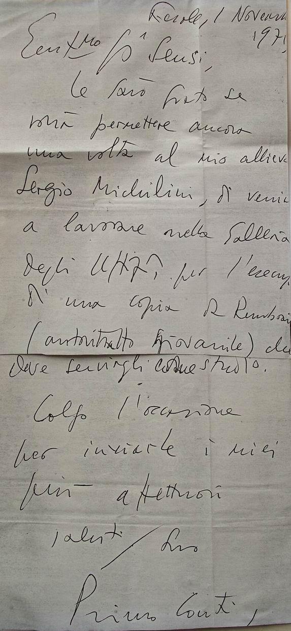 1971 Lettera del Maestro Primo Conti per copia da Rembrandt