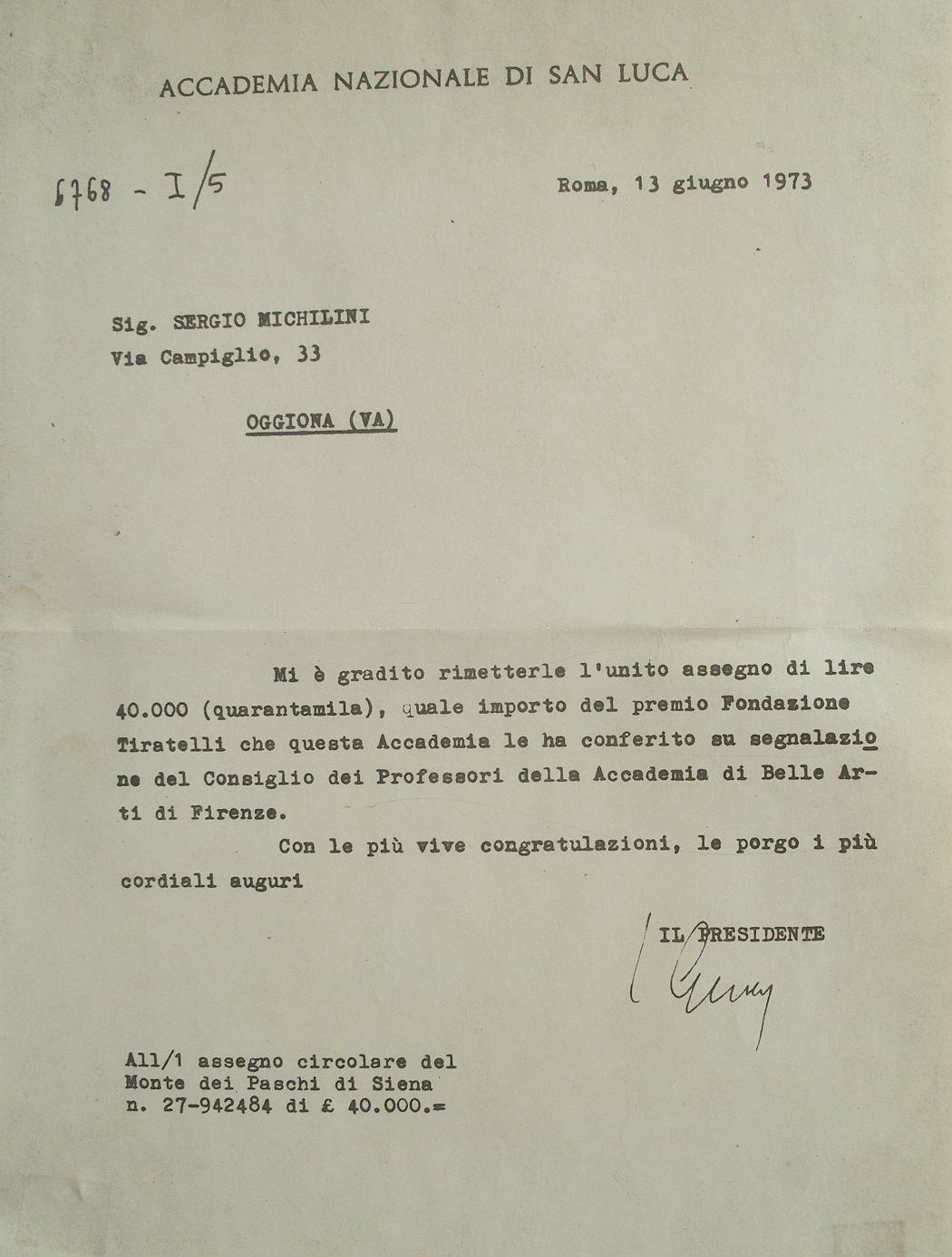 1973 Premio della Accademia di San Luca