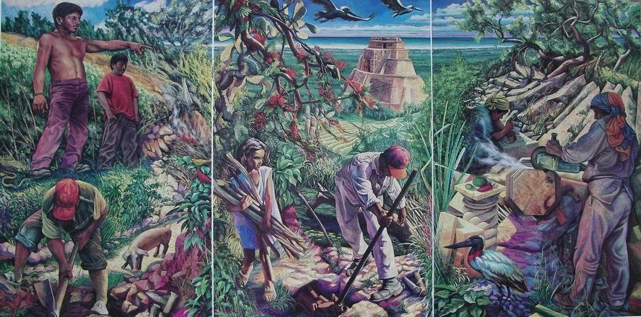 Michilini,  MERIDA,MEXICO, Trittico murale PIEDRA Y VIDA EN YUCATAN, 1994, olio su tela,cm.160x320