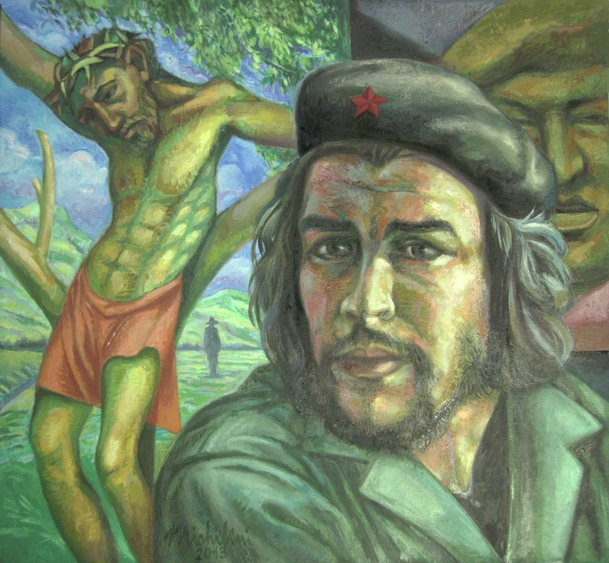 Sergio Michilini,CHE GUEVARA-CRISTO CROCIFISSO-CHAVEZ E SANDINO, 2013, olio su tela, cm.74x80