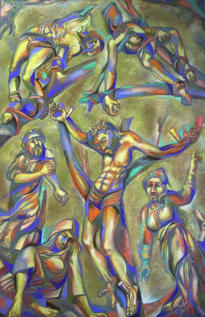 Michilini, GRANDE CROCIFISSIONE, 2003, olio su tela, cm.185x120