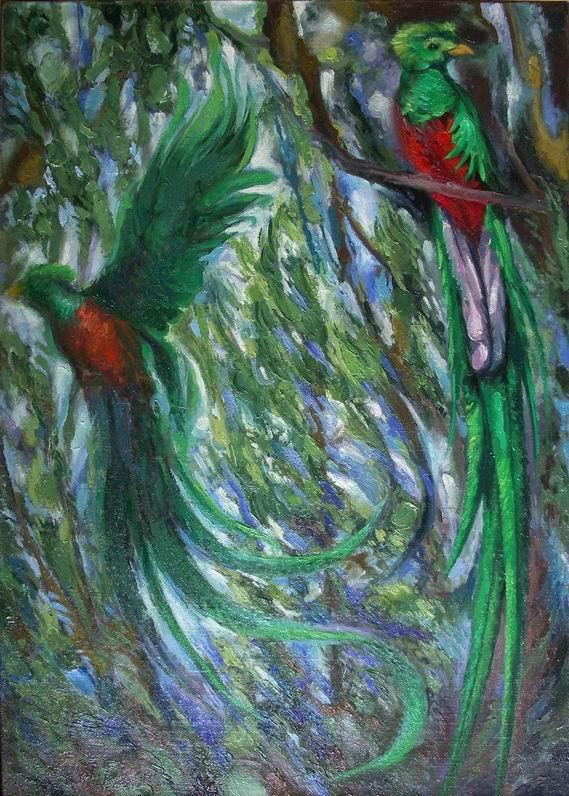 Sergio Michilini, QUETZALES, 1994, olio su tela, cm.70x50