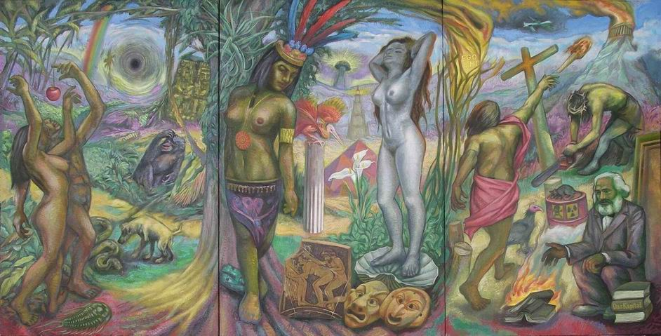 Michilini, CHE FARE, 2012, trittico, olio su tela, cm.122x240
