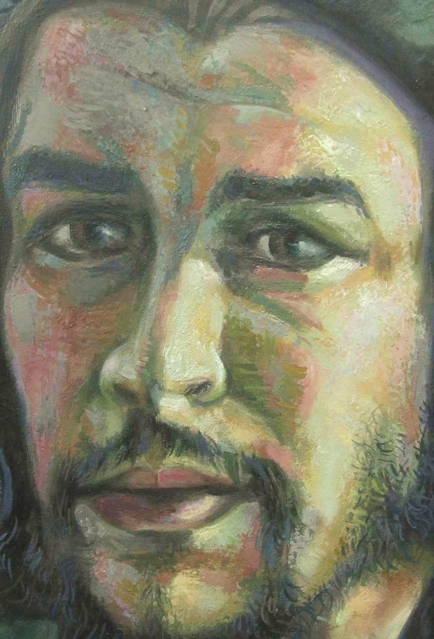 Sergio Michilini,CHE GUEVARA-CRISTO CROCIFISSO-CHAVEZ E SANDINO, 2013, olio su tela, cm.74x80, particolare