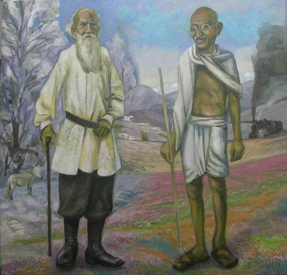 Michilini, BUONGIORNO SIGNORI TOLSTOJ E GANDHI, 2012, olio su tela, cm.70×73