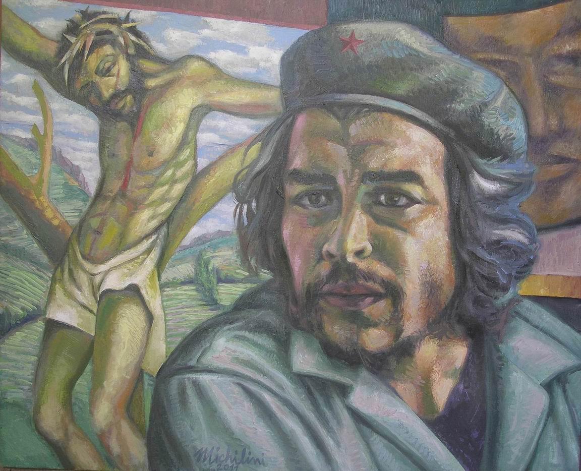 Sergio Michilini,CHE GUEVARA E CRISTO CROCIFISSO, 2011, olio su tela, cm.65x80