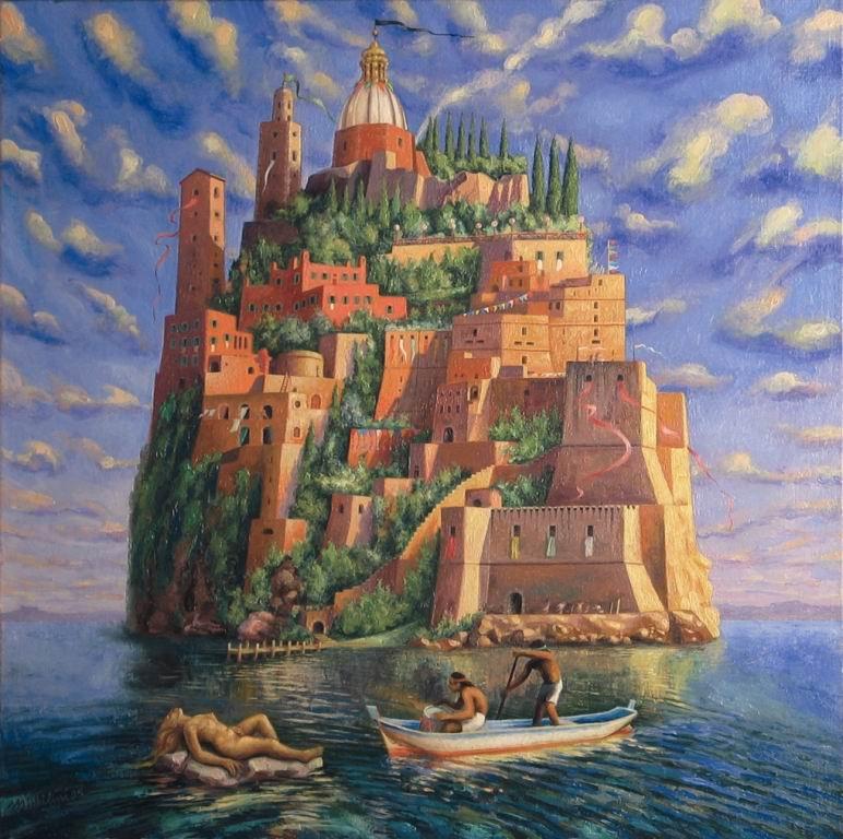Sergio Michilini, L'ISOLA DEI VIVI, 1995, olio su tela, cm.60x60