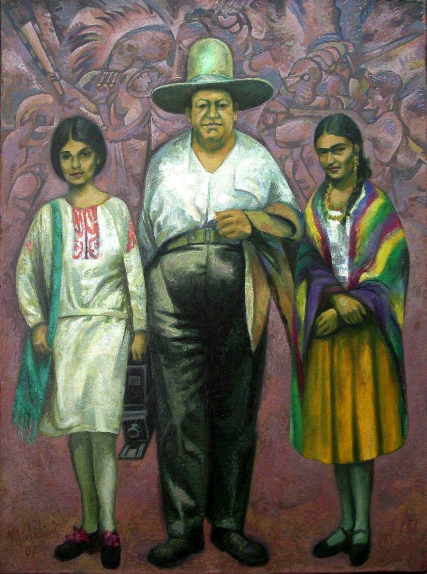 "Sergio Michilini, ""Diego Rivera entre Tina Modotti y Frida Kahlo"", 2007, oleo sobre tela"