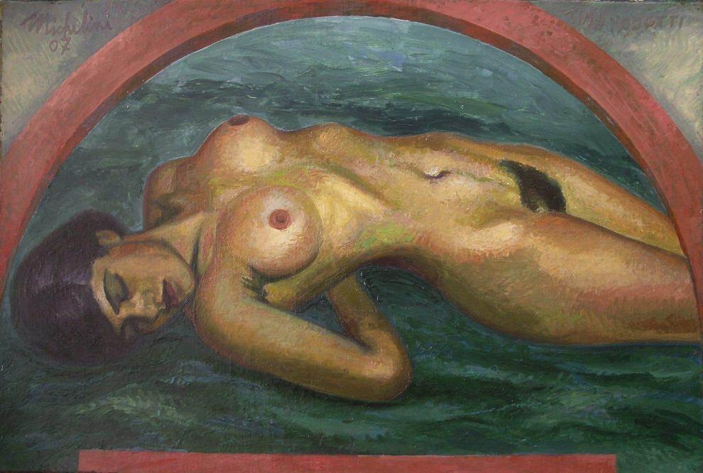 Sergio Michilini, TINA MODOTTI DESDE UNA FOTO DE EDGARD WESTON, 2007, oleo sobre tela, cm.40x60
