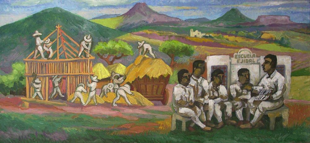 "Sergio Michilini, ""La Reforma Agraria en México"", 2007, oleo sobre tela"