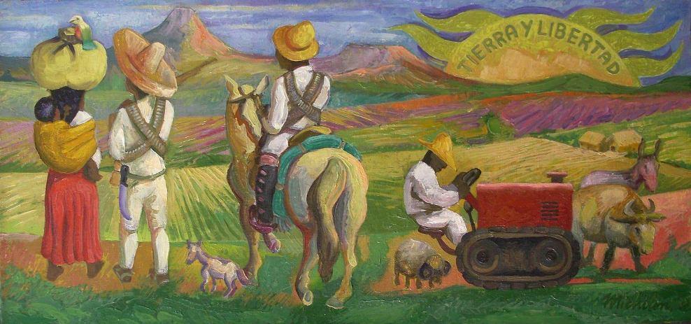 "Sergio Michilini, ""La Reforma Agraria en México"", 2007, oleo sobre tela     Sergio Michilini, ""La Reforma Agraria en México"", 2007, oleo sobre tela"