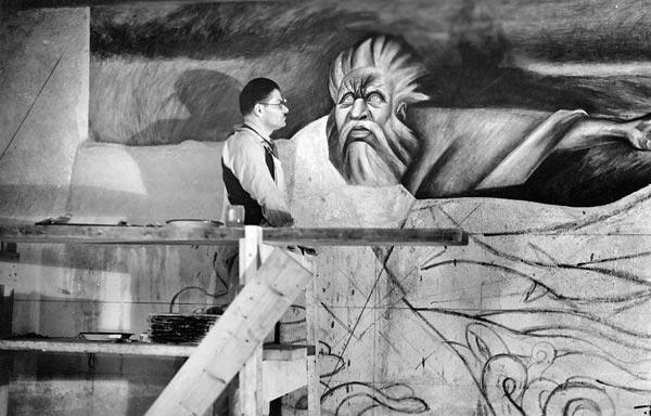 José Clemente Orozco nella Baker Library, Dartmouth College, Hanover, NH, USA, 1932-34
