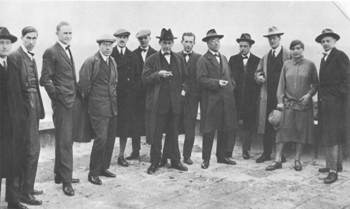 The Bauhaus Masters in 1926, left to right: Josef Albers, Hinnerk Scheper, Georg Muche, László Moholy-Nagy, Herbert Bayer, Joost Schmidt, Walter Gropius, Marcel Breuer, Wassily Kandinsky, Paul Klee, Lyonel Feininger, Gunta Stölzl, Oskar Schlemmer.