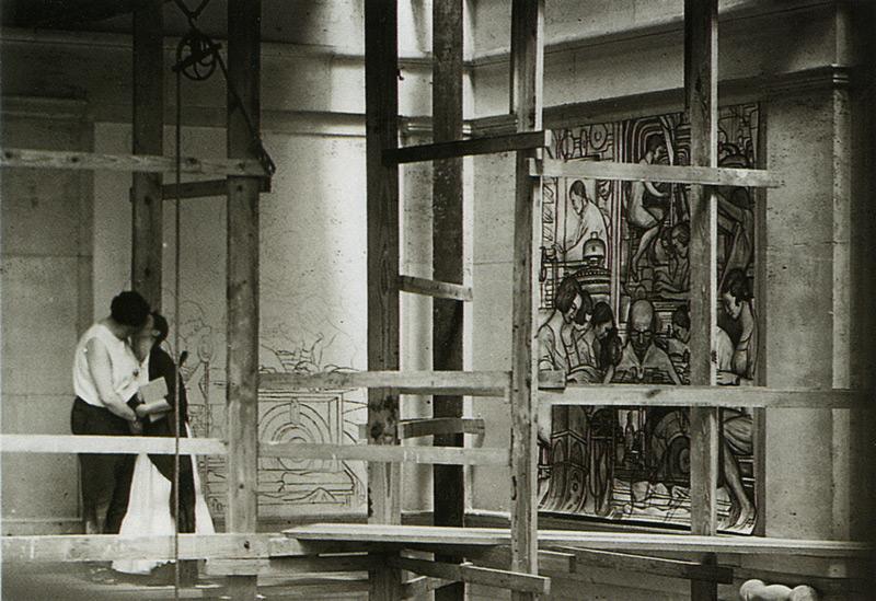 Diego Rivera e Frida Kahlo sui ponteggi a Detroit nel 1933