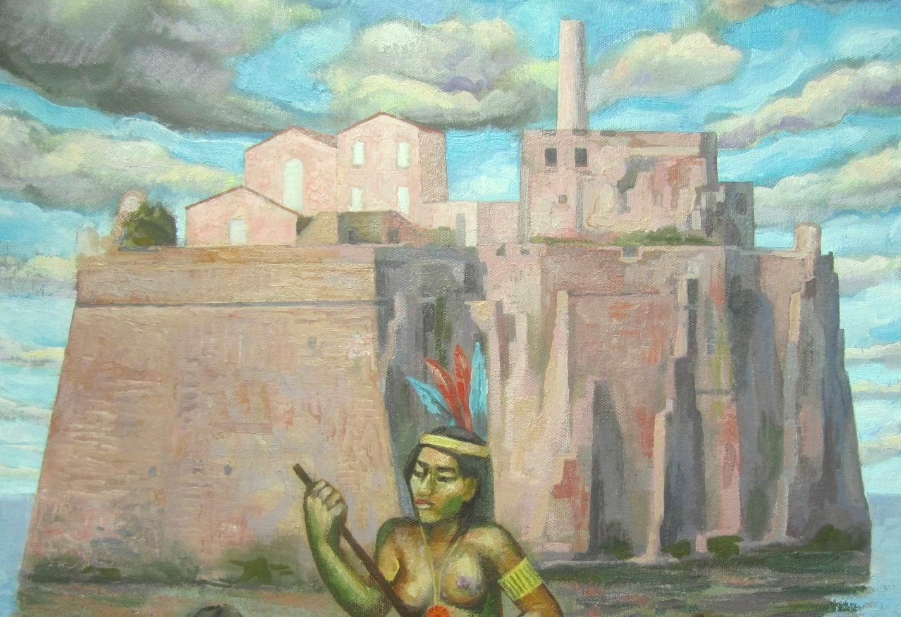 Sergio Michilini, LA ISLA DE LOS ESCLAVOS (L'isola degli schiavi), 2013, oleo sobre tela, cm.70x52, particolare