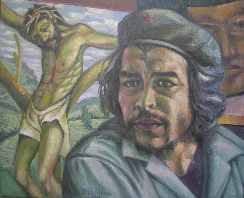 Michilini,CHE GUEVARA E CRISTO CROCIFISSO, 2011, olio su tela, cm.65×80
