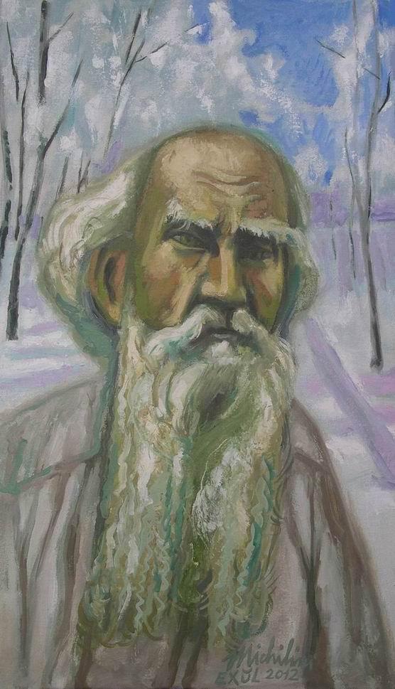 Michilini, RITRATTO DI LEV TOLSTOJ, 2012, olio su tela, cm.60×35