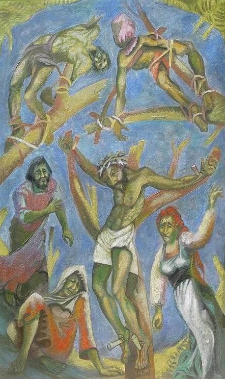 Sergio Michilini, CRUCIFIXION, boceto ejecutivo, 2010, óleo sobre tela, cm135x80