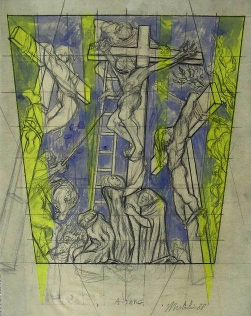 Sergio Michilini,1988, CROCIFISSIONE, bozzetto,cm.50x35