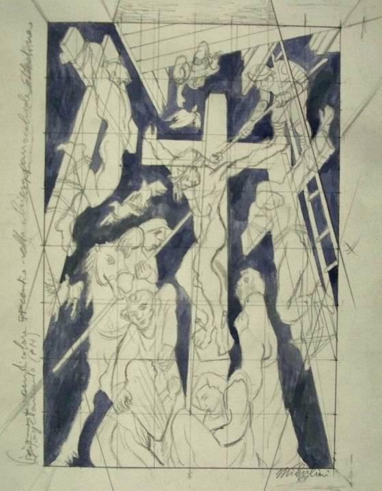 Sergio Michilini,1988, CROCIFISSIONE, bozzetto,cm.45x29