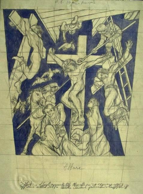Sergio Michilini,1988, CROCIFISSIONE, bozzetto,cm.50x34