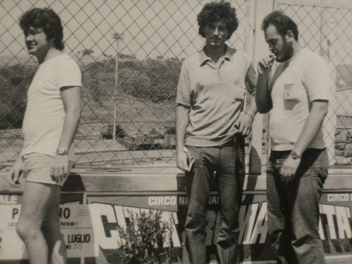 Piombino 1974, da destra verso sinistra: Andrea Gennari, Sergio Michilini e Gianfranco Tognarelli