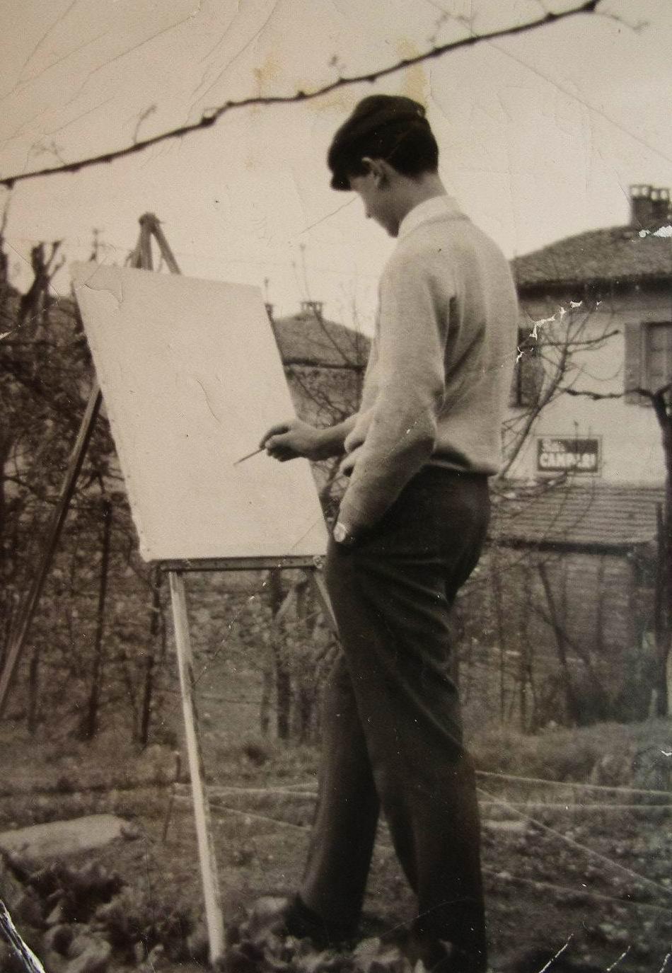 1965 Cavaria (VA) Italia, pintando al aire libre