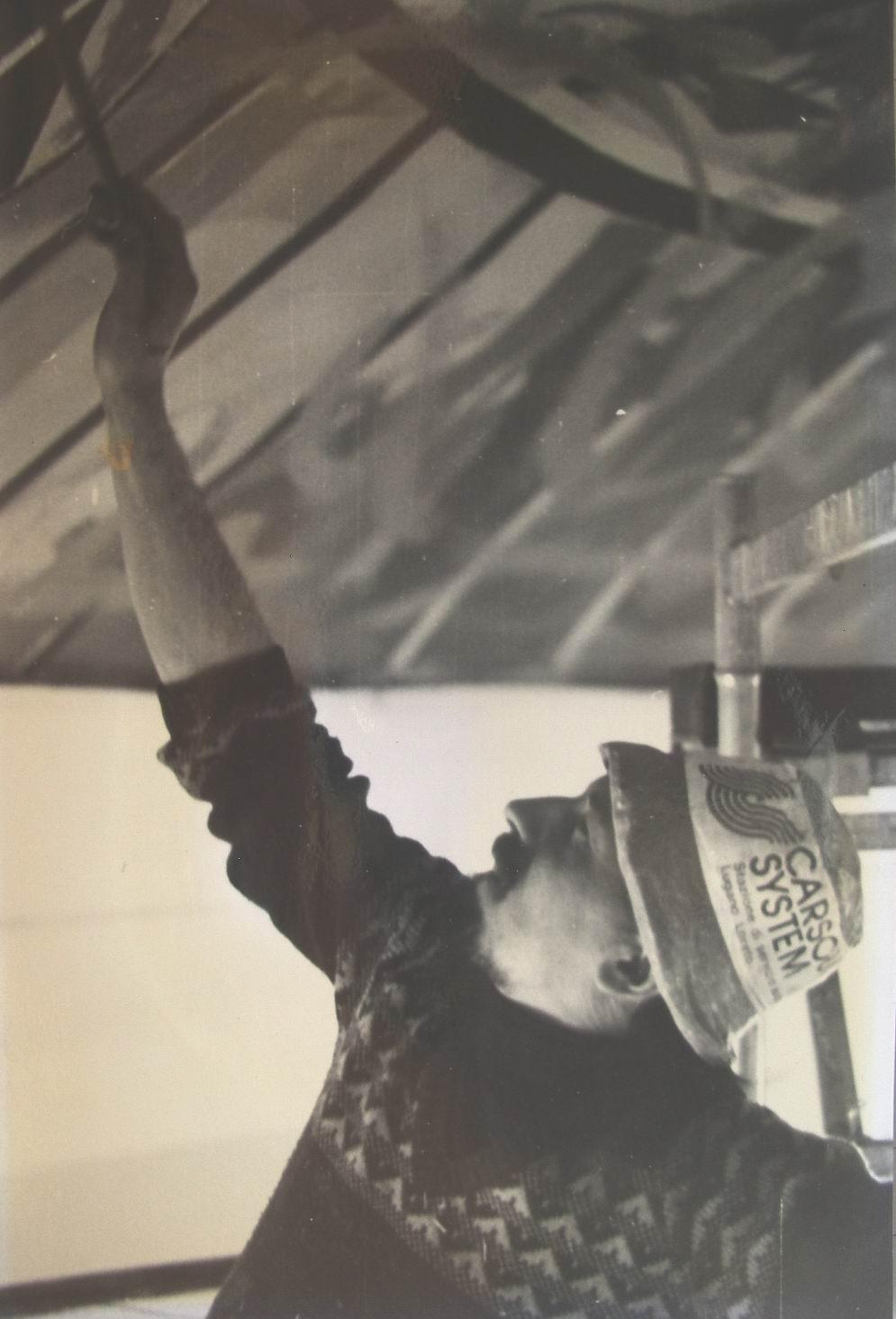 1982, pintando la cúpula de Santa Maria de los Angeles en LONATE POZZOLO