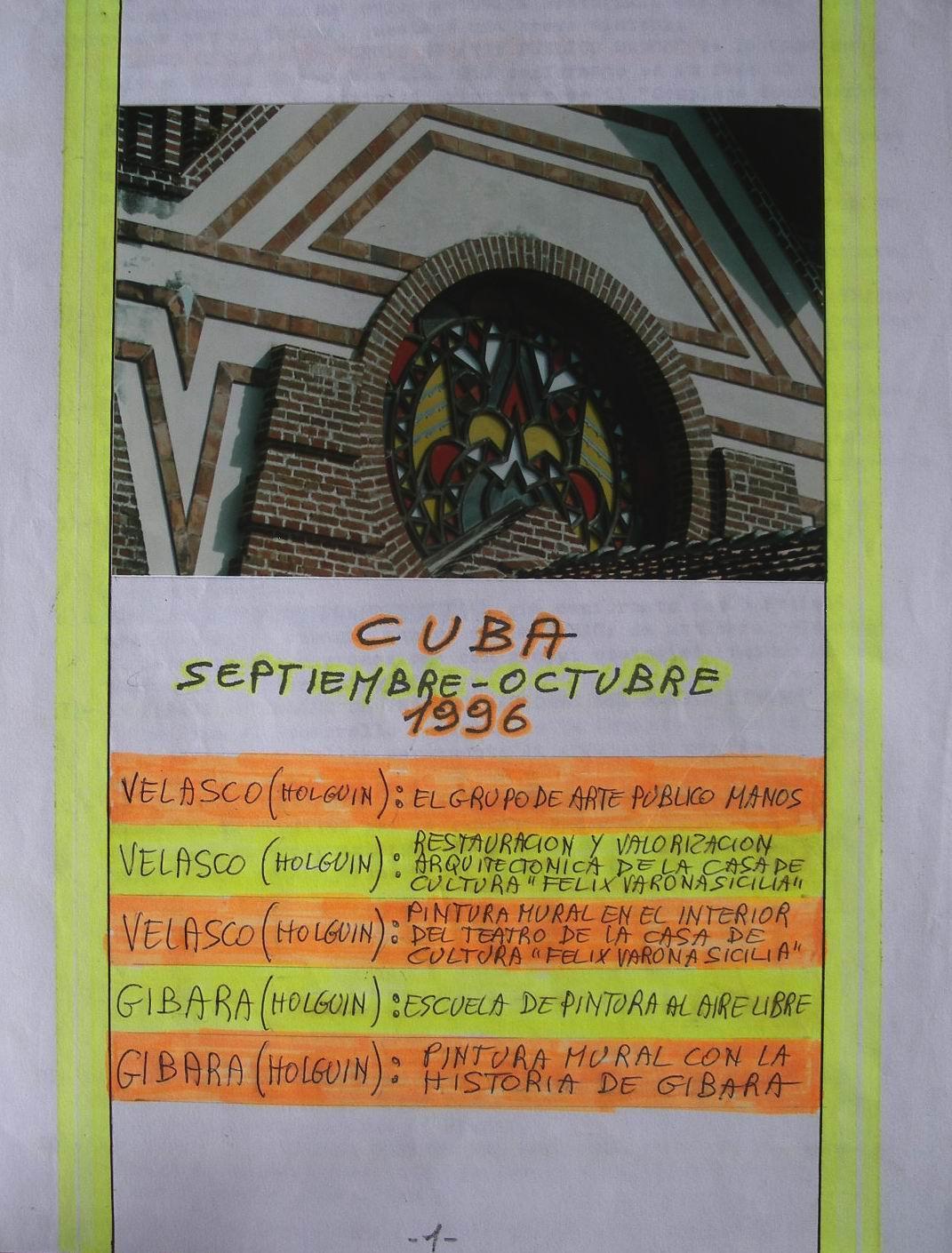 1996 5 Progetti d'Arte per Cuba, Settembre-Ottobre