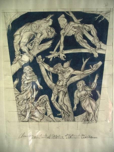 Sergio Michilini,1988, CROCIFISSIONE, bozzetto,cm.54x34