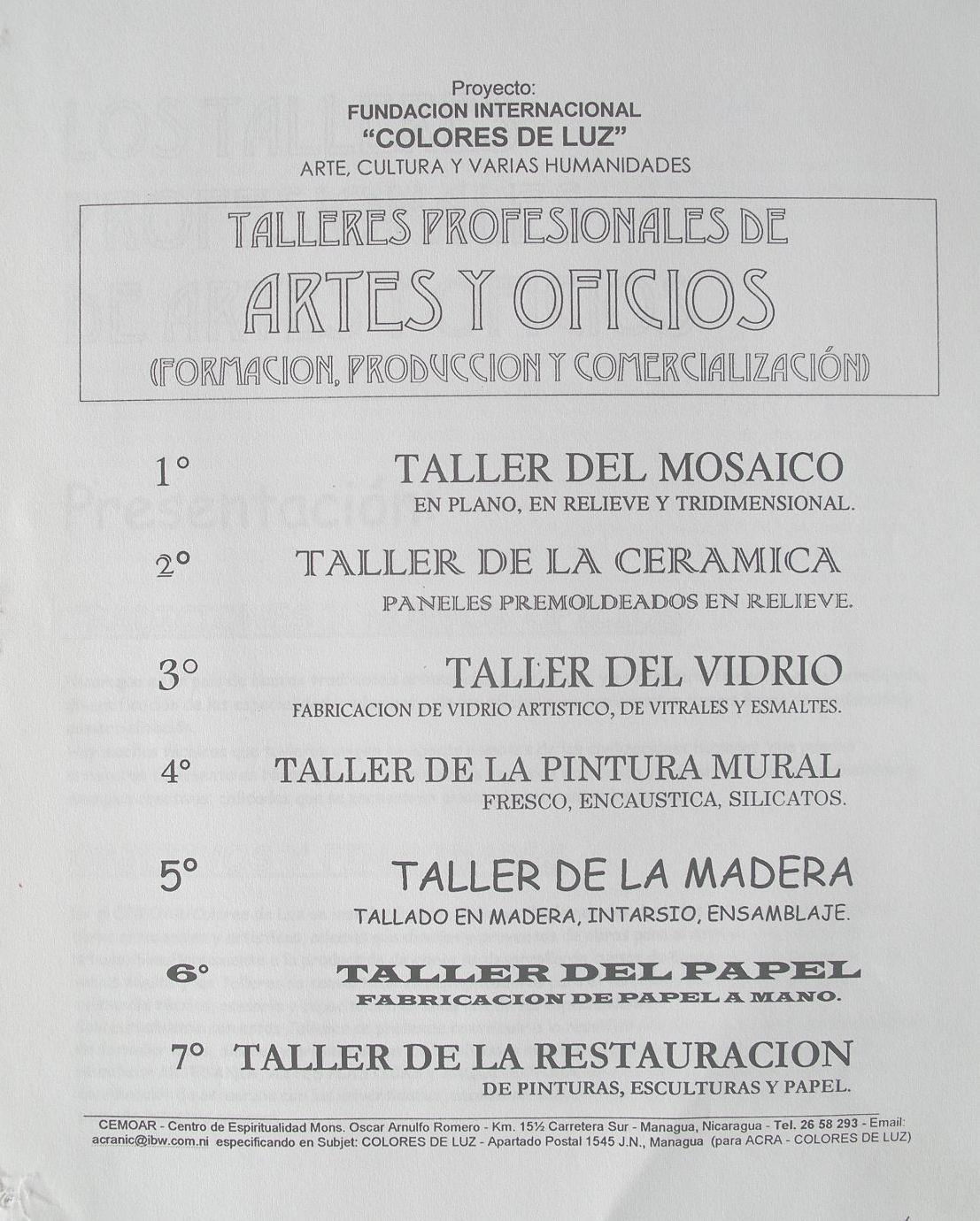 2001-1 Progetto Colores de Luz, Managua