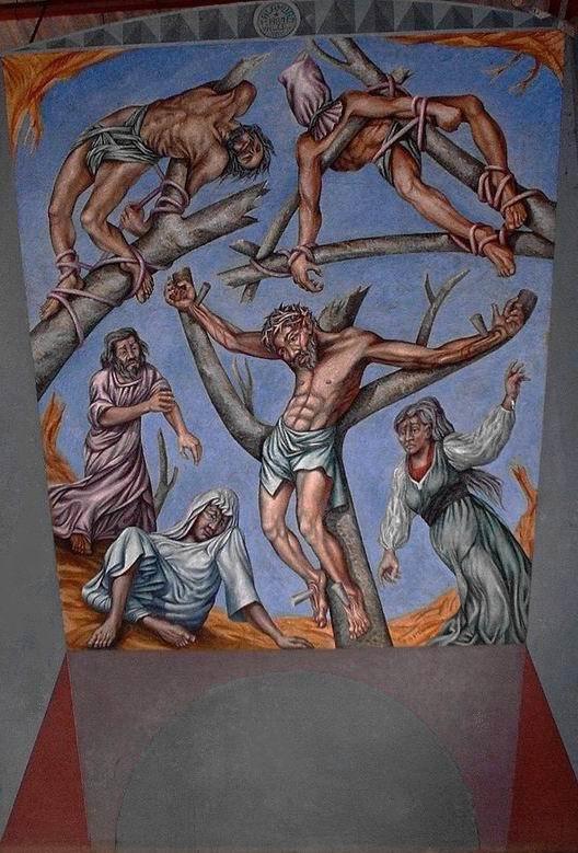 Sergio Michilini, CRUCIFIXION, 1989, pintura mural en el CEMOAR (Centro de Espiritualidad Mons. Oscar Arnulfo Romero) Km15.5 Carretera Sur, Managua-Nicaragua