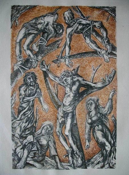 Sergio Michilini, CRUCIFIXION, litografia realizada en el TALLER DE GRAFICA POPULAR EN LA HABANA, CUBA, 1994, cm.50x32