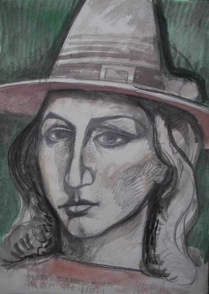 """Michilini, """"Ana Maria de Jesus Ribeiro da Silva (Anita Garibaldi)"""", boceto"""