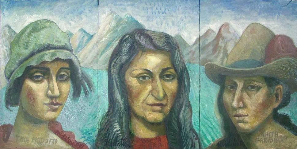 Sergio Michilini, TINA,VIOLETA E ANITA, 2010, olio su tela, trittico cm.60×120