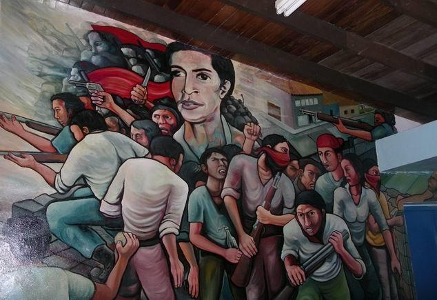 10 Academia de Policia MANAGUA, barricada con retrato de WALTER MENDOZA, cm.350x350, cod.n.54