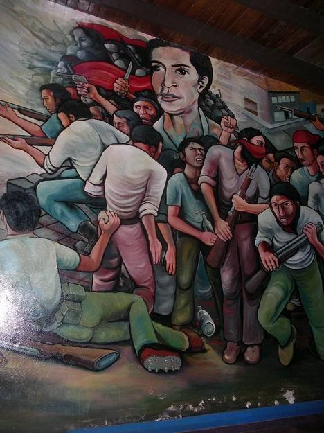 11Academia de Policia MANAGUA, barricada con retrato de WALTER MENDOZA, cm.350x350, cod.n.54