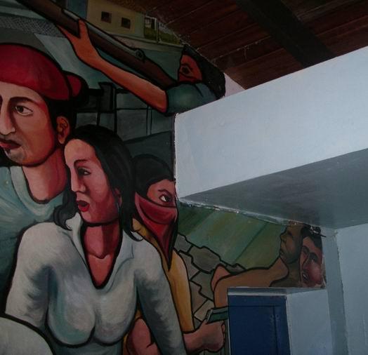 12 Academia de Policia MANAGUA, barricada con retrato de WALTER MENDOZA, cm.350x350, cod.n.54