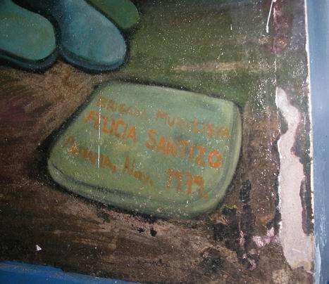 13 Academia de Policia MANAGUA, barricada con retrato de WALTER MENDOZA, cm.350x350, cod.n.54