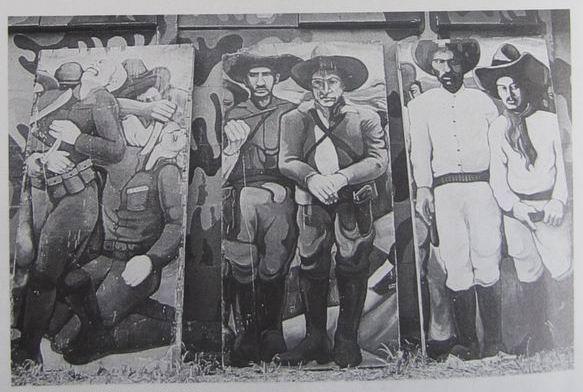 16 Academia de Policia, tres paneles mobiles de cm.300x150 cada uno, cod.n.56